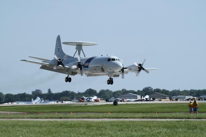 An Air and Marine Operations P-3 Airborne Early Warning aircraft crew lands in Jacksonville, FL.