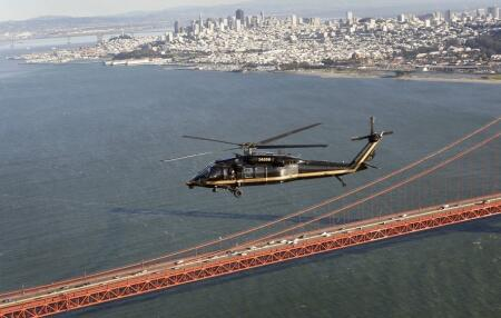 CBP Blackhawk flies over Golden Gate Bridge