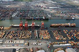 Keeping trade lanes open is a top priority for CBP during the COVID-19 pandemic. The port of New York/ Newark, pictured above, is the third largest seaport in the U.S.