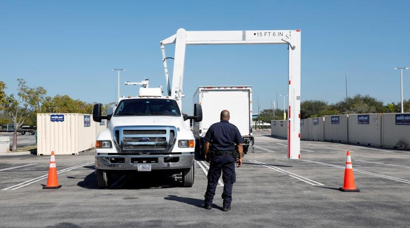CBP uses X-ray trucks at Hard Rock Stadium in advance of Super Bowl LIV, in Miami Gardens, Florida, Jan. 28.