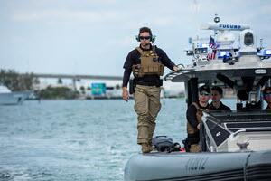 Members of CBP's Air and Marine Operations conduct enhanced security measures leading up to Super Bowl LIV in Miami earlier this year.