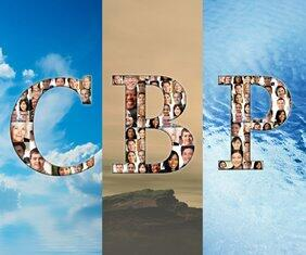 "Image depicting a background consist an image of the elements air, land and sea with the acronym CBP. Within the letters ""CBP"" are a mosaic that make up the letters with various headshots of people with different racial/ethnic backgrounds."