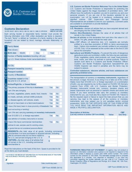 Customs declaration and its registration