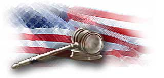 image of the American flag and wooden gavel.