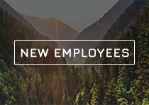 Mountain background with the text New Employees placed over top of image