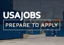 Containers at a port of entry with the text USAJOBS Prepare to Apply placed on top of image