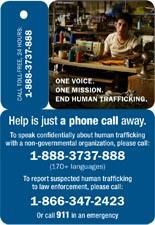 Human Trafficking - Forced Labor Shoe Card