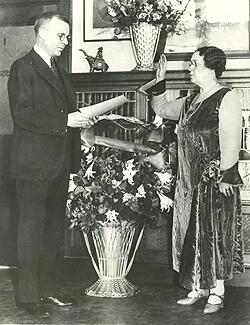 On Feb. 12, 1931, Anna C. M. Tillinghast is sworn-in by Judge Harold Williams for her second four-year term as district commissioner of immigration for the port of Boston.