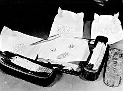 Diamonds concealed in a hollowed out broom handle, discovered by Customs inspectors on board the Queen Elizabeth. (CBP historical collections, 1949)