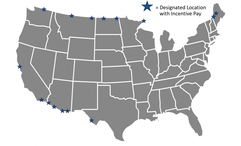 Map of the United States with stars; stars mark designated locations with incentive pay