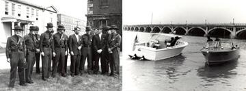 (Left Image): Detroit agents with Attorney General Robert Kennedy at groundbreaking for new station. (Right Image): Detroit agents conducting marine patrol near Belle Isle, June 1965.