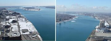 (Left Image): Looking north from Detroit towards Belle Isle, MI.  (Right Image): Looking south from Renaissance Center in Detroit.