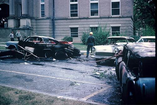 Aftermath of the long night of segregation. Photograph of the following day.  Copyright Estate of Donald James Proehl.