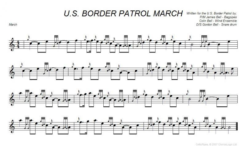 U.S. Border Patrol March, Bagpipes sheet music