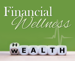 Financial Wellness over blocks that spell out health and wealth