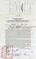 Outward Foreign Manifest, Side 1: Oath of Master. Manifest No. 152 was issued on July 9, 1938 for Howard Hughes, whose signature appears as Master.