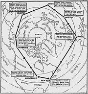 A map detailing the advance planning necessary to pass over or land on foreign soil. In a race for a world record, prior arrangements for food, fuel and any needed repairs were essential to minimize time on the ground at each stopover.