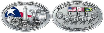 Front and Back Views of Rio Grande Valley Sector's Challenge Coin