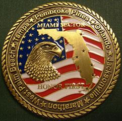 Back side image of the Miami Sector Challenge Coin