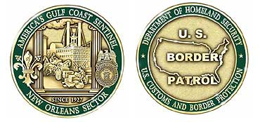 Front and back side image of New Orleans Sector's Challenge Coin