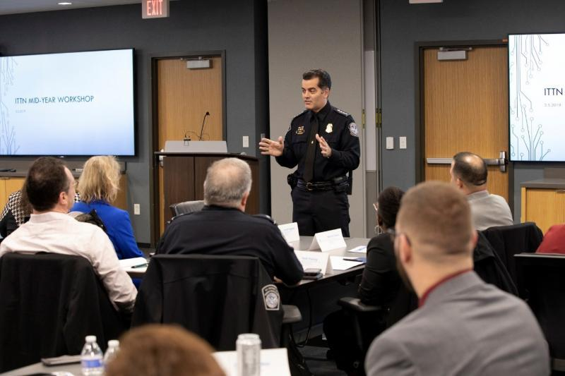 CBP Deputy Director Robert Perez speaks with attendees of the Integrated Trade Targeting Network Mid-Year Workshop March 5 at the National Targeting Center in Sterling, Virginia. Photo by Donna Burton