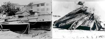 Historical photo of patrol boats in Marine City, MI. (Right Image): Historical photo of seized rum boats being burned in Marine City, MI.