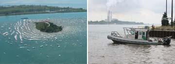(Left Image): Boating traffic on the St. Clair River. (Right Image): Marysville agents conducting marine patrol on the station SAFE boat.