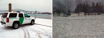 (Left Image): Looking towards Canada near the Blue Water Bridge. (Right Image): Looking across the frozen St. Clair River to Canada.