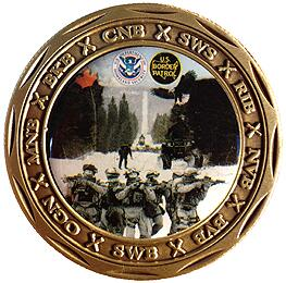 Back View of Swanton Sector Challenge Coin