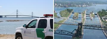 (Left Image): Mackinac Bridge leading to Michigan's Lower Peninsula. (Right Image): View of Canada looking across the Soo Locks.