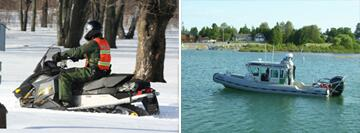 (Left Image): Sault Ste. Marie agent conducting snowmobile patrol. (Right Image): Sault Ste. Marie agents conducting marine patrol on the station SAFE boat.