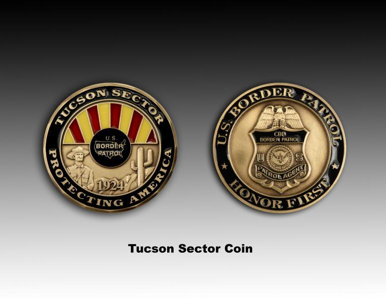 Front and back side images of Tucson Sector's Challenge Coin