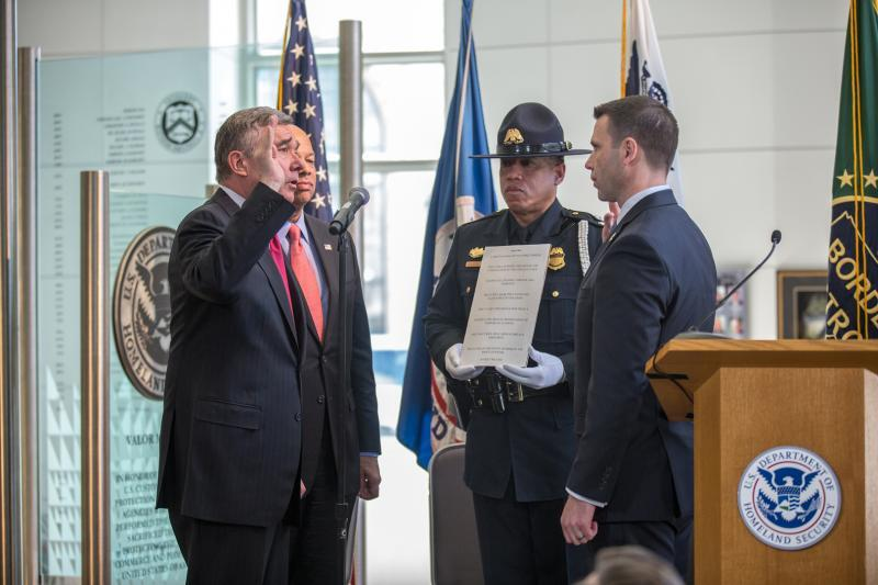 CBP Commissioner R. Gil Kerlikowske (left) officially swears in Kevin K. McAleenan (right) as CBP Deputy Commissioner – the agency's chief operating official – March 18 during a ceremony at CBP headquarters in Washington, D.C.