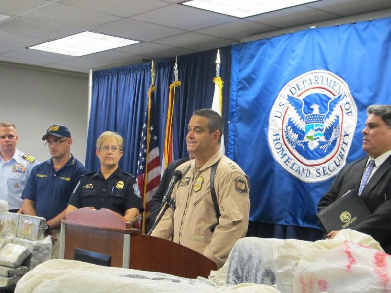 Johnny Morales, Director of Air Operations for CBP's Caribbean Air and Marine Branch (CAMB) speaking to the media