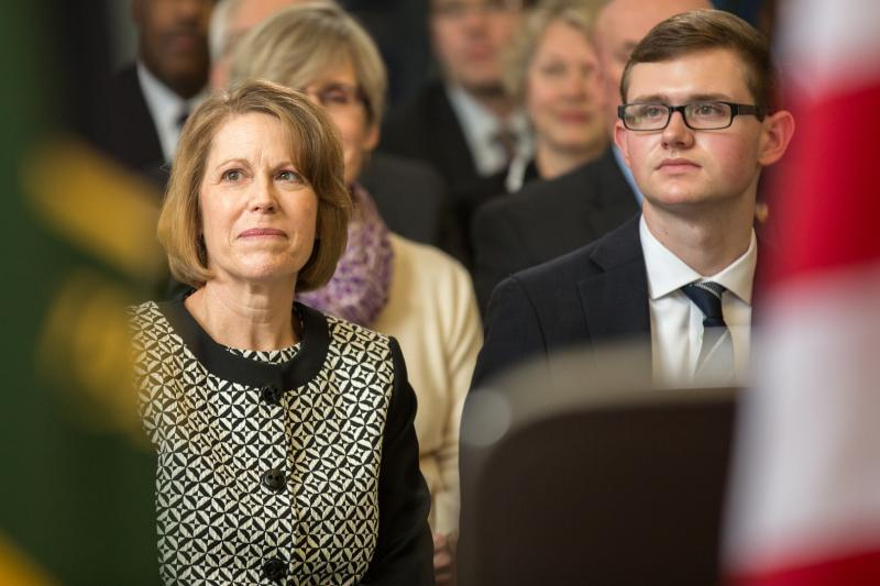 Teresa and Alex Winkowski, the wife and son of former CBP Acting Commissioner Winkowski, were in attendance at the ceremony at CBP headquarters.
