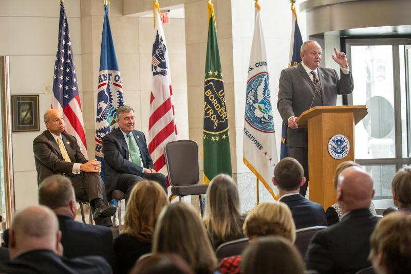 Former CBP Acting Commissioner Thomas S. Winkowski speaks to family, friends and colleagues at a retirement ceremony celebrating his nearly 40 years of service.