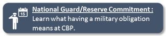 National Guard/Reserve Commitment : Learn what having a military obligation means at CBP.