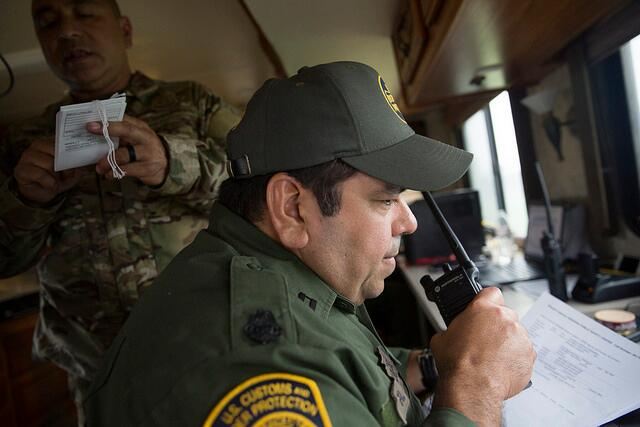 U.S Border Patrol agents man a mobile command post in Rockport, Texas, as they participate in the disaster relief response to Hurricane Harvey. (August 27, 2017) U.S. Customs and Border Protection Photo: Glenn Fawcett