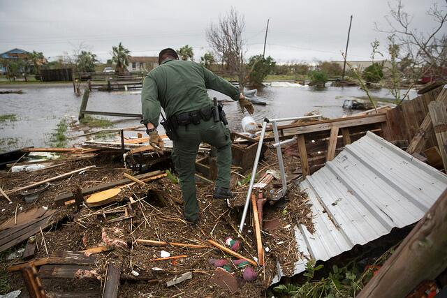 U.S Border Patrol agents Mario Fuentes, left, and Marc Gonzales search a destroyed mobile home for survivors in the wake of Hurricane Harvey near Rockport, Texas. (August 27, 2017) U.S. Customs and Border Protection Photo: Glenn Fawcett