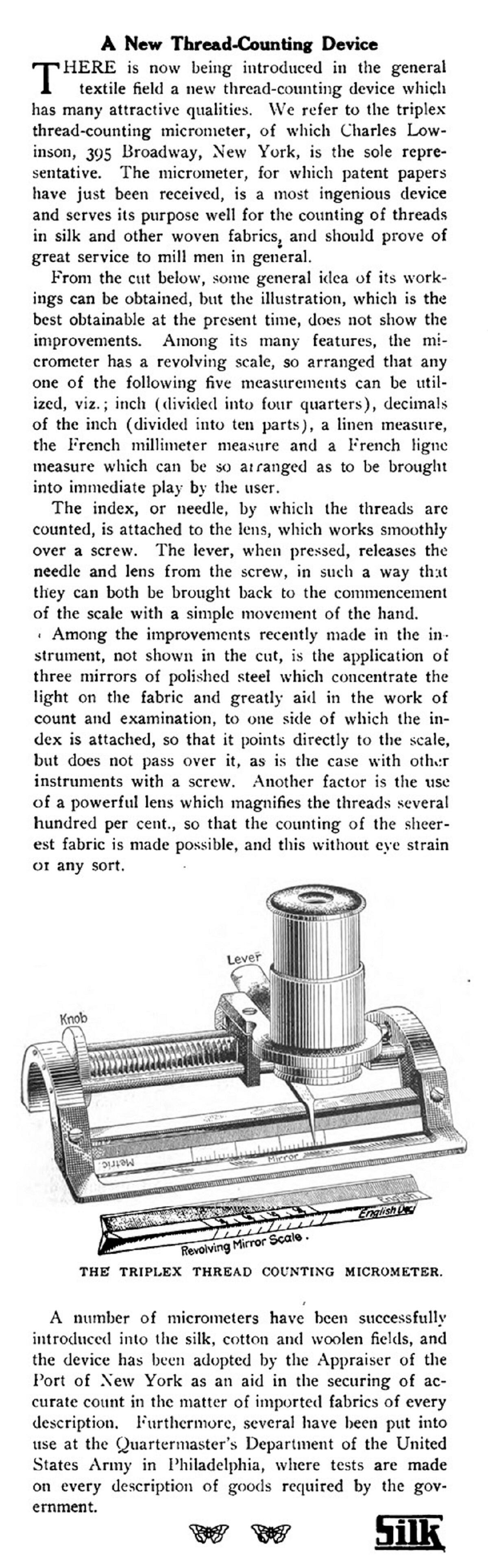 "1909 Silk article titled ""A New Thread-Counting Device"""