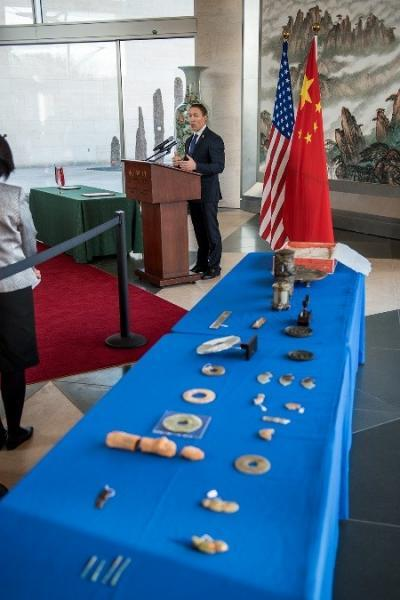 These ancient Chinese artifacts made from bronze and jade were returned to China during a Dec. 14 repatriation ceremony at the Chinese Embassy thanks to the mutual effort by CBP officers, Homeland Security investigators and Justice Department staff. Photo Credit: Josh Denmark