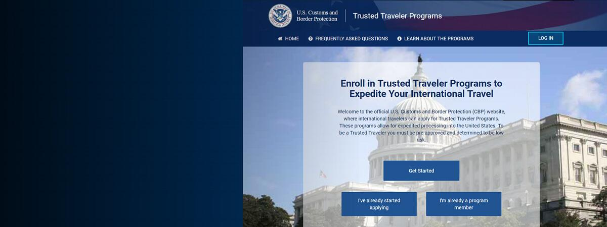 Screenshot of New Trusted Traveler Program Website