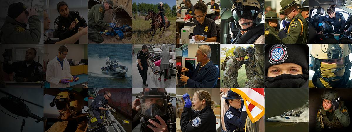 Photo collage of CBP officers and agents