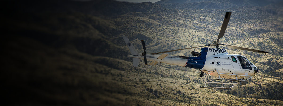 An AS350 helicopter crew patrolling the skies in southern Arizona.