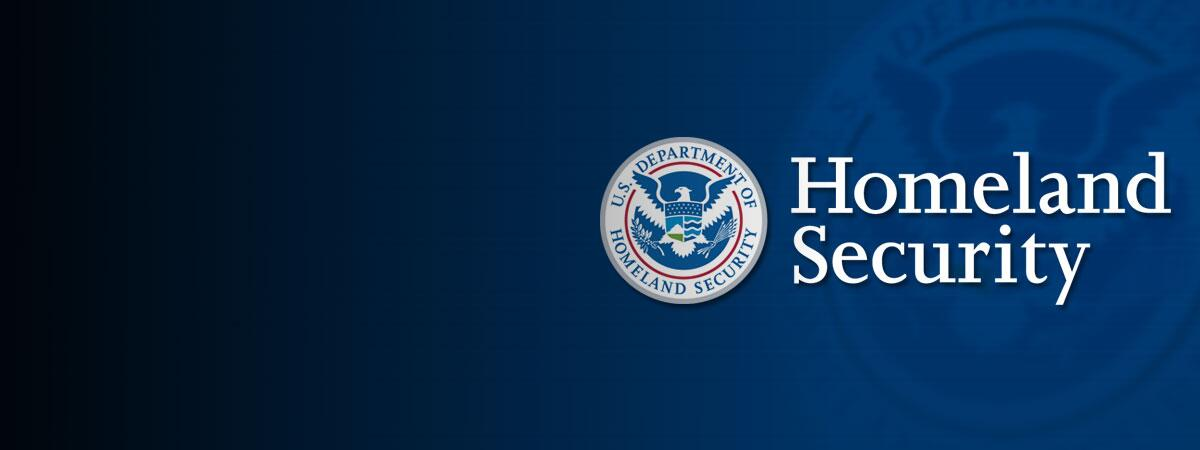 Blue Banner with DHS Seal and Signature