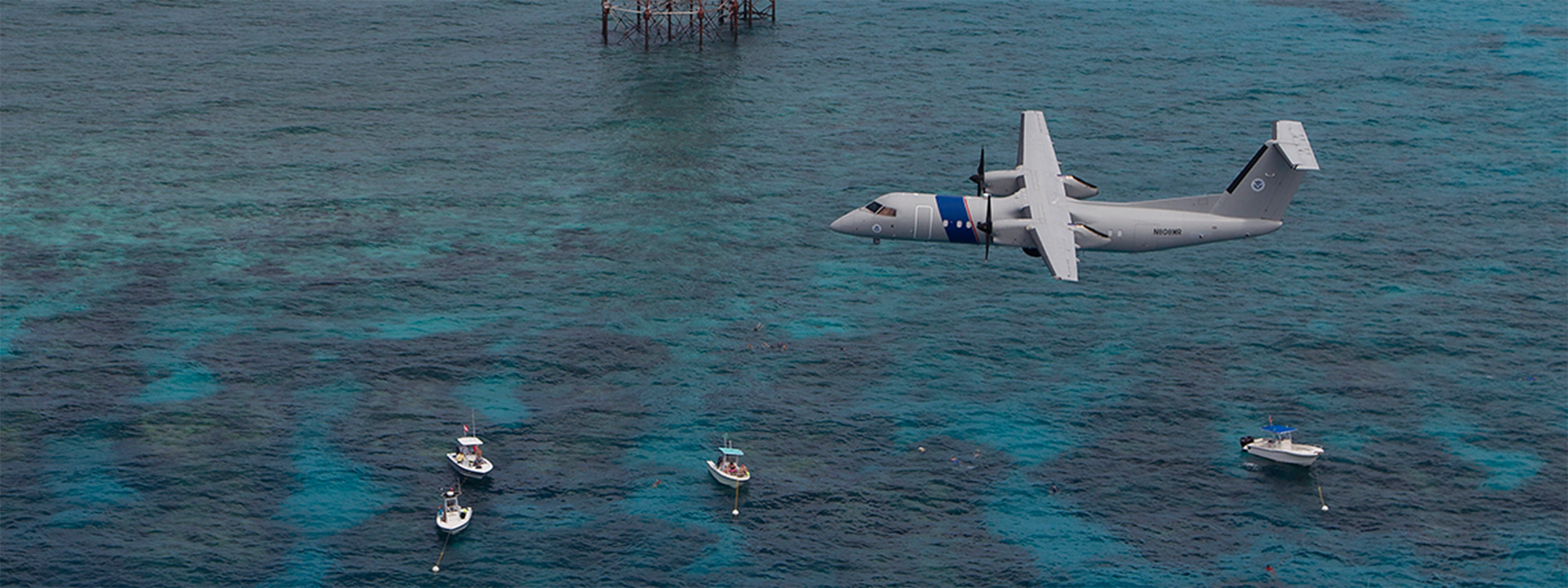 An Air and Marine Operations DHC-8 maritime patrol aircraft crew conducts operations in south Florida.