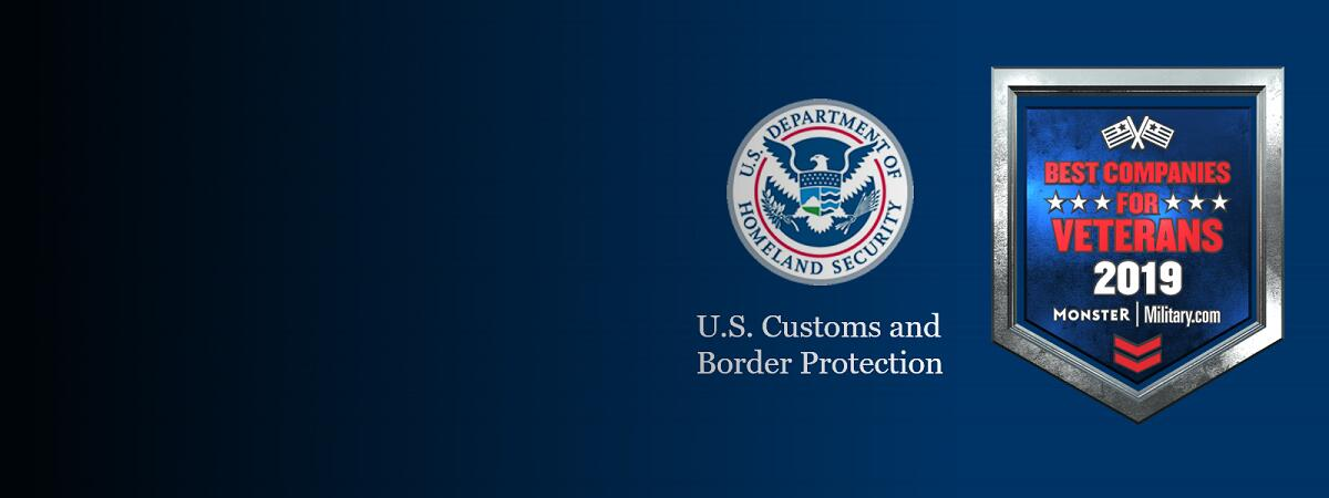 CBP seal next to Monster Badge that reads Best Companies for Veterans 2019