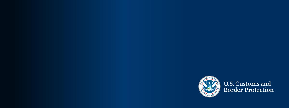 blue web banner with Customs and Border Protection logo