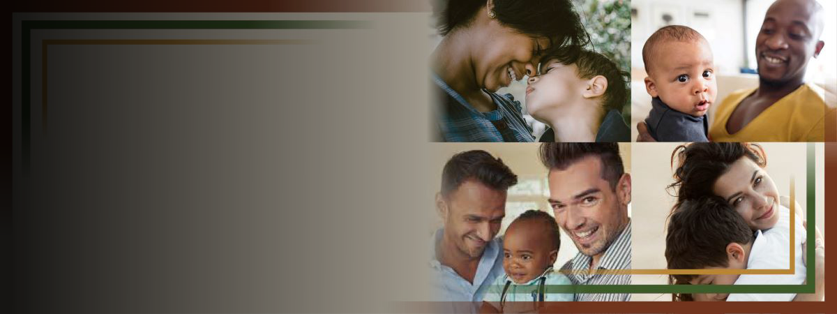 Four different images - parents with their babies