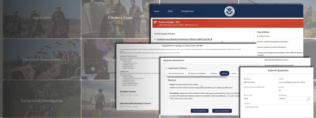 Multiple screenshots of the CBP Applicant Portal